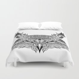 OWL head. psychedelic / zentangle style Duvet Cover