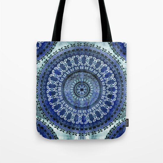 Vintage Blue Wash Mandala Tote Bag