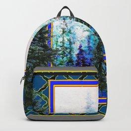 PINE TREES BLUE FOREST  LANDSCAPE TEAL PATTERN Backpack