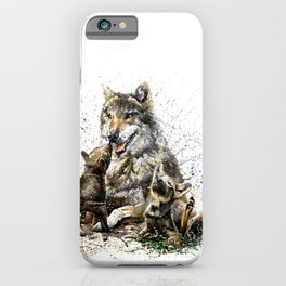 Good Morning wolf family watercolor iPhone Case
