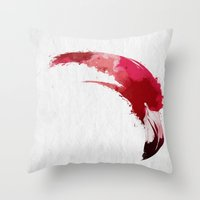 flamingo Throw Pillows featuring Flamingo by KUI29