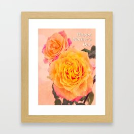 Happy Mother's Day Orange Roses Framed Art Print