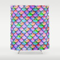 fairy tail Shower Curtains featuring colorful mermaid tail  by haroulita