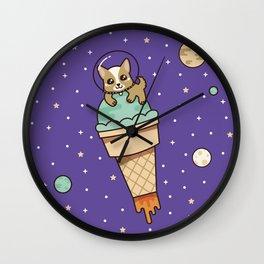 Kawaii Corgi Dog on an Ice Cream Rocket in Space Wall Clock