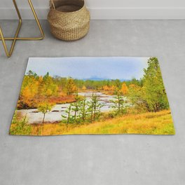 Finland landscape watercolor painting Rug