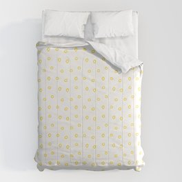 Yellow minimal hand drawn ring pattern Comforters