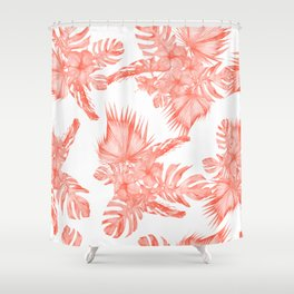 Tropical Palm Leaves Hibiscus Flowers Deep Coral Shower Curtain
