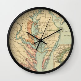 Vintage Virginia and Maryland Colonies Map (1905) Wall Clock