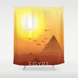 Vintage Egypt travel poster, Shower Curtain