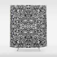 zentangle Shower Curtains featuring Zentangle  by Zenspire Designs