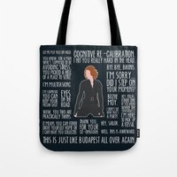 black widow Tote Bags featuring Black Widow by MacGuffin Designs
