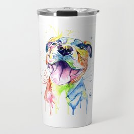 Pit Bull, Pitbull Watercolor Painting - The Softer Side Travel Mug