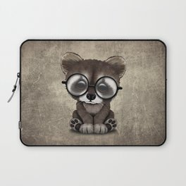 Cute Nerdy Raccoon Wearing Glasses Laptop Sleeve