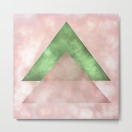 Pink and Green Triangles Geometric Abstract Metal Print