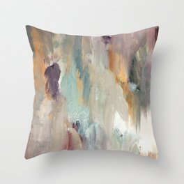 Gentle Beauty [4] - an elegant acrylic piece in deep purple, red, gold, and white Throw Pillow