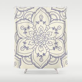 Vintage navy blue ivory elegant floral mandala Shower Curtain
