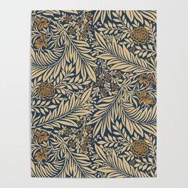 Blue Vintage Floral Pattern Poster
