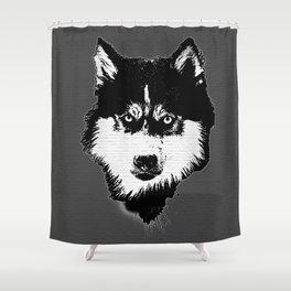 husky dog face grafiti spray art Shower Curtain