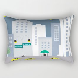 New York City, New York - Skyline Illustration by Loose Petals Rectangular Pillow