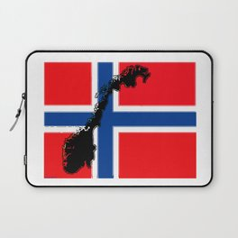Norwegian Flag with Map of Norway Laptop Sleeve