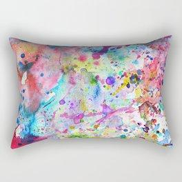 Abstract Bright Watercolor Paint Splatters Pattern Rectangular Pillow