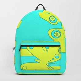 Bright lemon turquoise pattern . The gonepteryx butterfly . Backpack