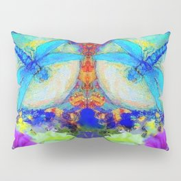 "BLUE ""ZINGER"" DRAGONFLIES  & PURPLE FLOWERS ART Pillow Sham"
