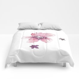 Lilac Pink Watercolour Fiordland Flower Comforters