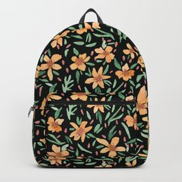 Peaches and Green Watercolor Floral Backpack