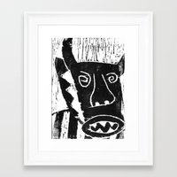 bull Framed Art Prints featuring Bull by Hadar Geva
