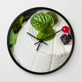 Fantasy of ricotta cheese, berries, dried figs and fresh mint Wall Clock
