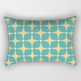 Mid Century Modern Star Pattern 143 Teal and Yellow Rectangular Pillow