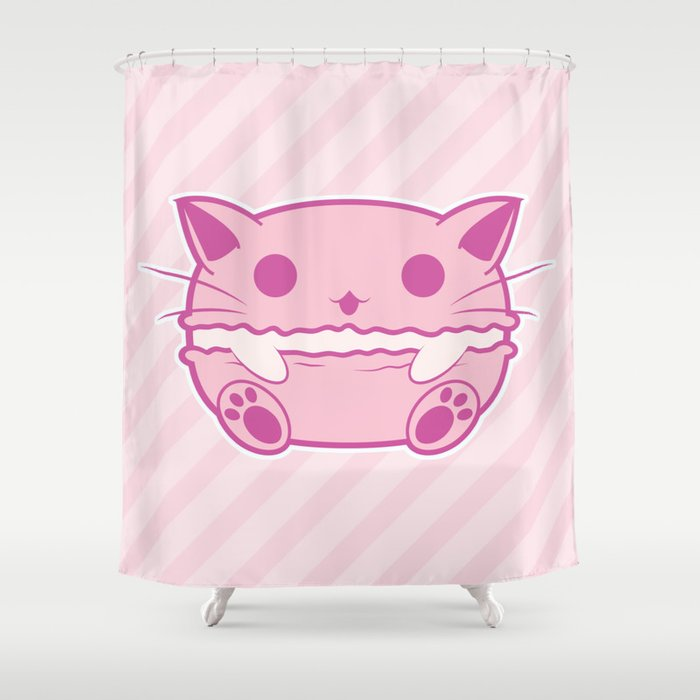 Pink Kawaii Cat Macaroon Shower Curtain