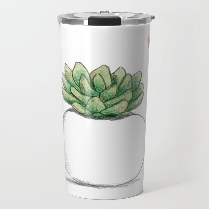 Succulent in Plump White Planter Travel Mug