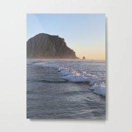 Morro Rock :: Sunset Beach Waves Metal Print