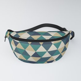 Foggy Petrol and Blue - Hipster Geometric Triangle Pattern Fanny Pack