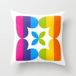 Love Heart Square Flower (Spectrum Stripes) Throw Pillow