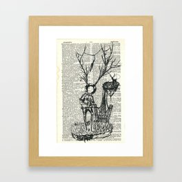 Spaceman & Deer (Dictionary) Framed Art Print
