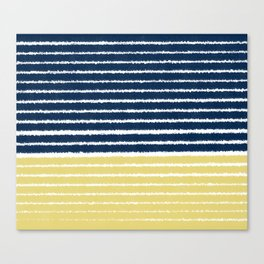 Gold and Navy Blue brush Strokes Canvas Print