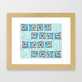 Blue Flower Party Framed Art Print