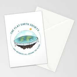 The Flat Earth has members all around the globe Stationery Cards