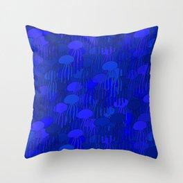 Jellyfish-BLUE Throw Pillow