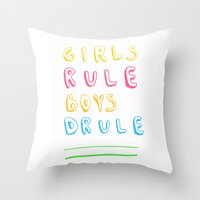 girl power Throw Pillows featuring Girl Power by Lovisa Valentino