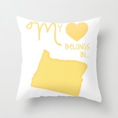 My Heart Belongs in Oregon Throw Pillow