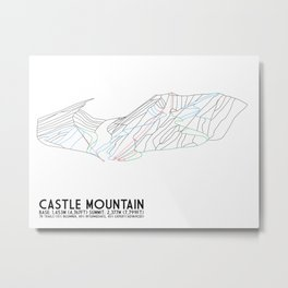 Castle Mountain, Alberta, Canada - Minimalist Trail Maps Metal Print