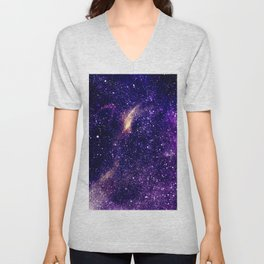 Ultra violet purple abstract galaxy Unisex V-Neck