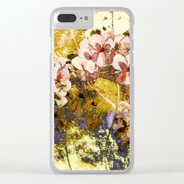 pink flowers on textured background Clear iPhone Case