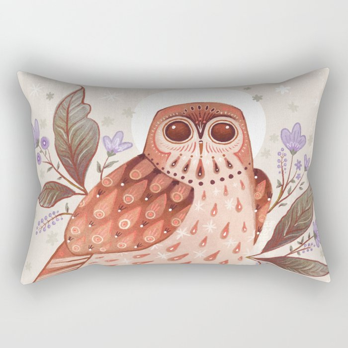 Owl Blooms Rectangular Pillow