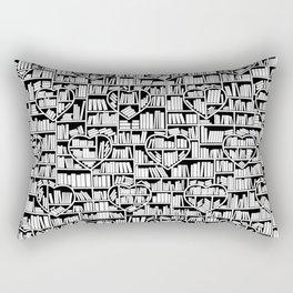 Book Lover Heart Library Pattern Rectangular Pillow