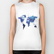 World Map blue purple Biker Tank